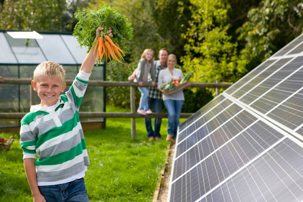 A boy holds up newly picked carrots with family look on, while standing next to solar panels