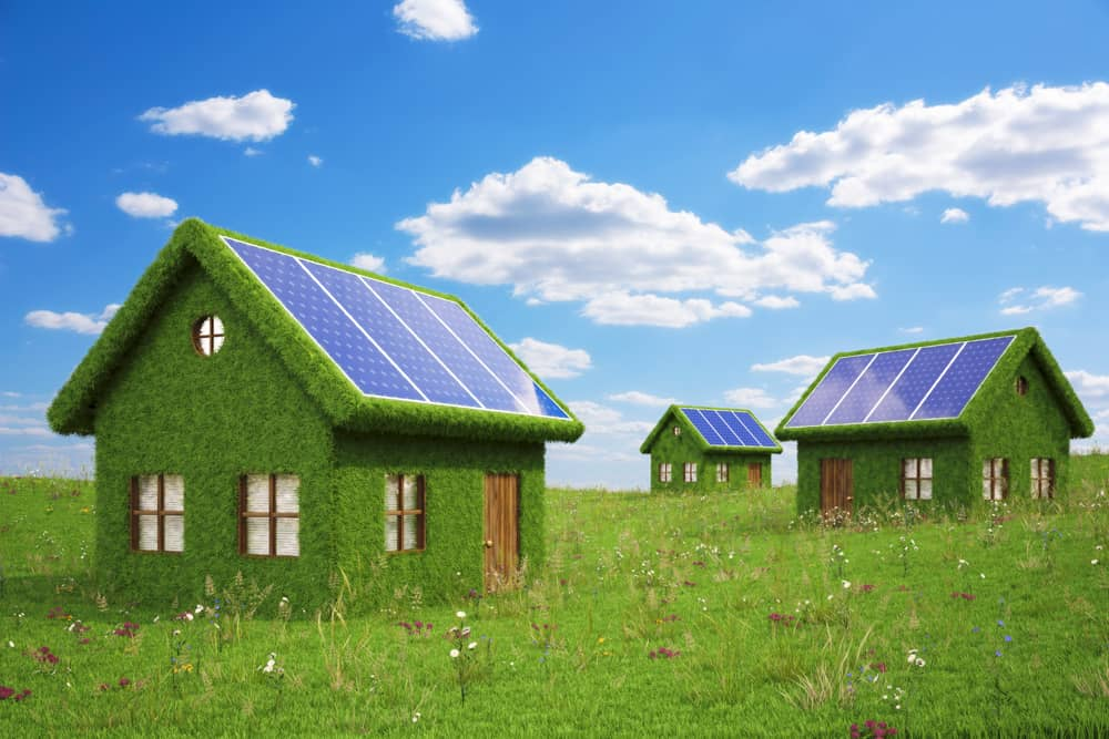 Homes with solar panels on a grassy field with a blue sky