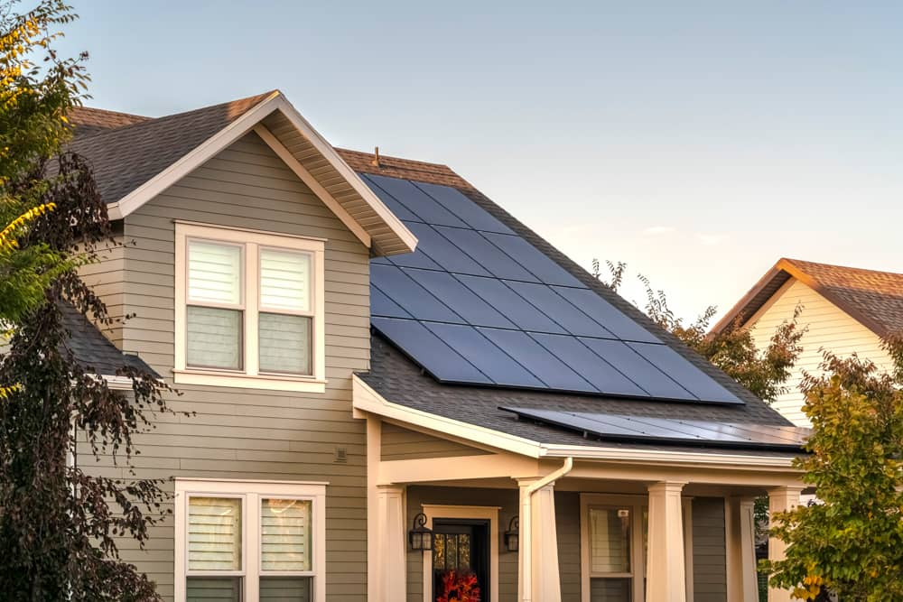 A house with solar panels on the roof