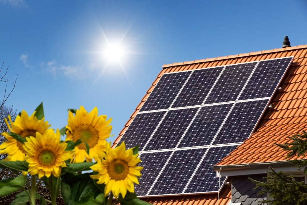 A photo of a roof of a house with large solar panels on a clear sunny day